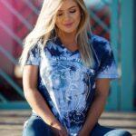Koszulka tie dye koszulka moonchild koszulka z księżycem koszulka vneck