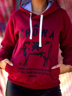 bluza krowa, śmieszna bluza z nadrukiem, zabawna bluza dla niej na preznt