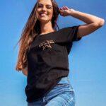 Czarna koszulka damska z nadrukiem gwiazda