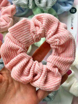 scrunchie różowa w paski