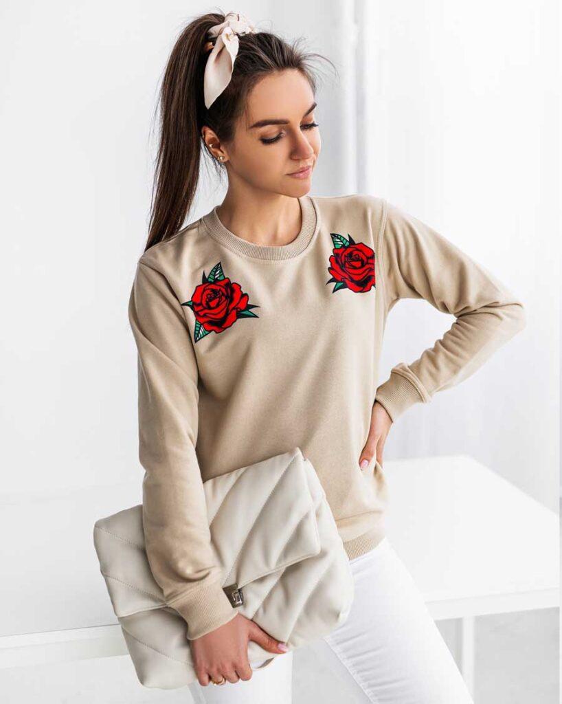 bluza w roze bezowa nude